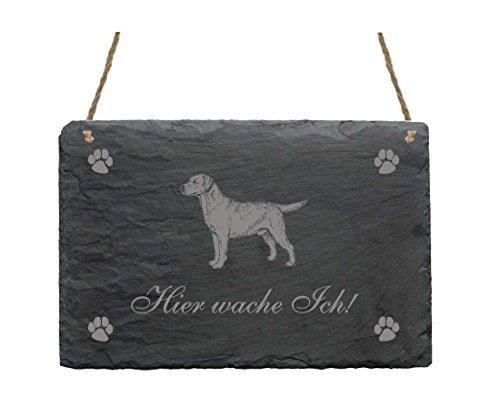 Schiefertafel « Hier wache ich - LABRADOR » Schild mit Hunde Motiv - für Heim Haus Garten Terrasse Tor - Geschenk Dekoschild Dekoration - Hund (Hundehütte Ich)
