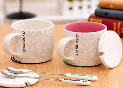 QPSSP Creative Starbucks Café Café Ceramic Tasse Avec Sakura Vent Couvrir Le Couple Mug Simple Bureau Dans La Coupe D'Europe Avec Le Coupe - Poudre De Couverture En Bambou.,C