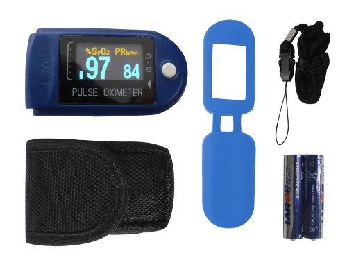 Finger Pulsoximeter Profi OLED Display Tiga 50 D / CMS-50D Fingerpulsoxymeter mit viel Zubehör + Batterien + SPO2 Sättigung dt. Fachhändler Garantie