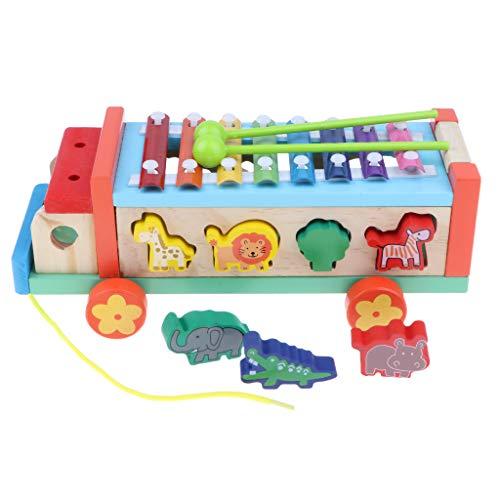 SM SunniMix Holz Handwagen Ziehwagen Bollerwagen Zugwagen Leiterwagen Montessori Spielzeug