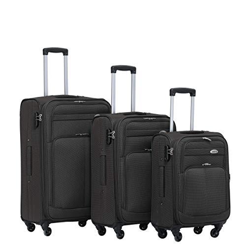 BEIBYE 4 Rollen Reisekoffer 3tlg.Stoffkoffer Handgepäck Kindergepäck Gepäck Koffer Trolley Set-XL-L-M (Coffee, Set)