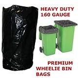100 x Heavy Duty Wheelie Bin Bags /Black Sacks / Liners / (760x1200x1370) 160 Gauge