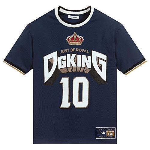Dolce & Gabbana Kinder nur königlich Sein T-Shirt Marine Navy 4 Years