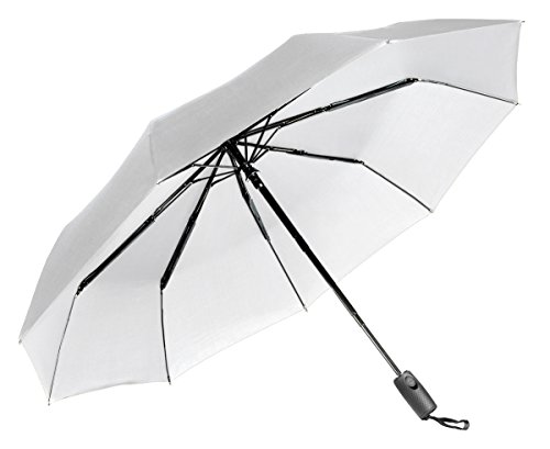 """Lightweight """"Dupont Teflon"""" Travel Umbrella, Virtually Indestructible Windproof Canopy, **Lifetime Replacement Guarantee**, Automatic Open/Close For One Handed Operation, Slip-Proof Handle for Easy Carrying By Repel (White)"""