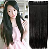 Pema Hair Extensions And Wigs Women's 5 Clip Hair Extension (Black, 24 Inch)