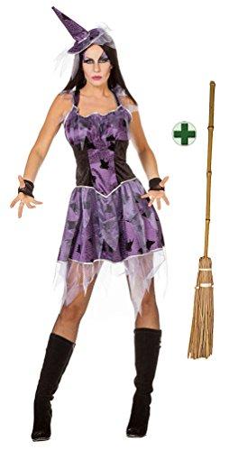 Karneval Klamotten Hexenkostüm Damen Spinne INKL. Hexenhut und Hexenbesen Halloween Sexy Damen-Kostüm Größe (Geraffte Schwarze Hut Hexe)