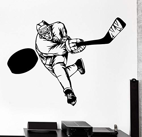 Tianpengyuanshuai Wandaufkleber Sport Hockey Schläger Schlagen Wintersportler Vinyl Aufkleber Dekoration Junge Aufkleber Schlafzimmer 56x42cm