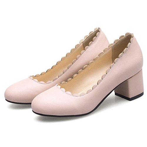 TAOFFEN Femmes Bout Rond Escarpins pink