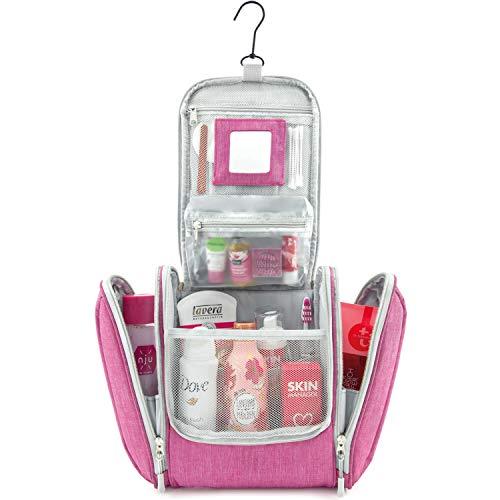 GO!elements® Kulturbeutel Frauen Kulturtasche zum Aufhängen Herren & Damen | Kosmetiktasche groß Männer Frauen für Koffer & Handgepäck | Waschtasche Reise-Tasche (Pink)