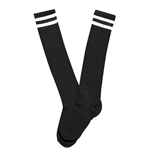 Ninos calcetines largos - SODIAL(R)Ninos Ninos Deporte Futbol calcetines largos de alta calcetin Beisbol Hockey Calcetines (negro)