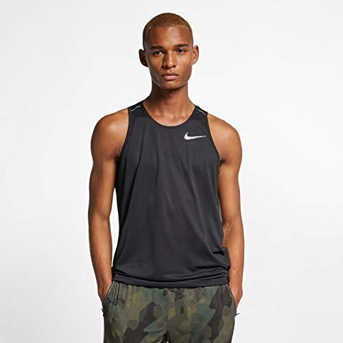 Nike Herren Dri-FIT Cool Miler Tanktop, Black/Reflective Silver, XL