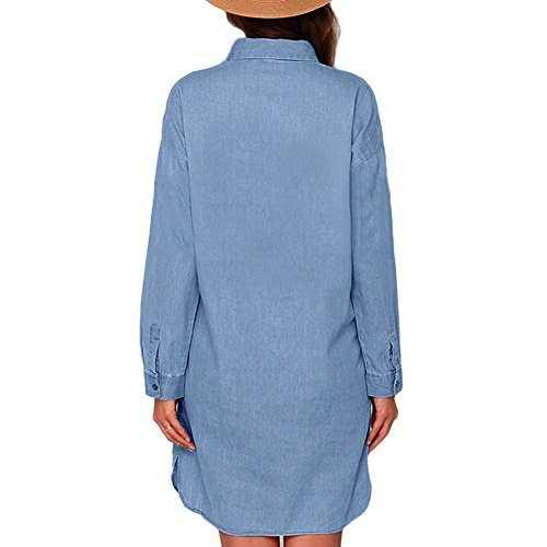 Balai Women's Casual Long Sleeve Denim Jean Shirt Mini Dress V Neck Blouse Tops UK16