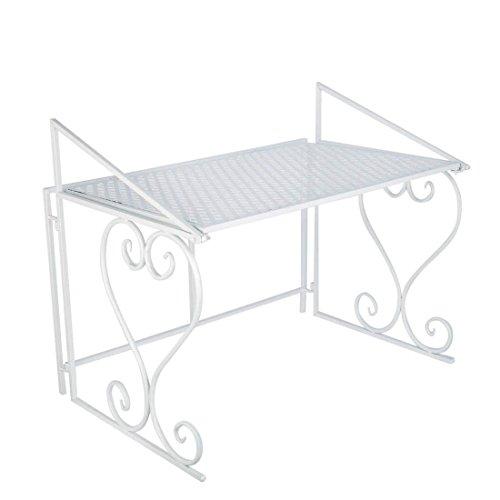 Aufbewahrung Regal Garage ybaymy 2Stufe Eisen Einheiten Mikrowelle platzsparend Küche Tisch Ecke schwarz/weiß/Kaffee weiß (Teller-regal-wand-display)