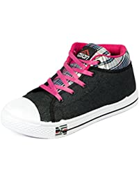 Asian shoes RACER-81 Black Pink Canvas Womens Shoes