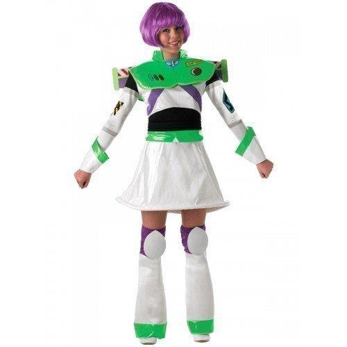 Damen 5 Stück Deluxe Disney Toy Story Buzz Lightyear Mit Kostüm Perücke Outfit UK 8-18 - Multi, 8-10