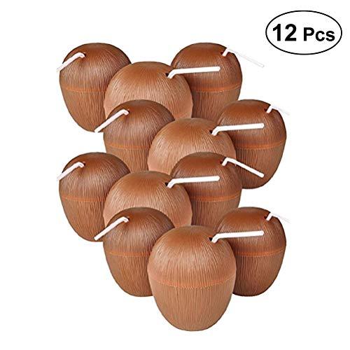 (Toyvian 12 Stück Kokosnuss Tasse Luau Party Favors Liefert Tragbare Saftbehälter Trinken Tassen)