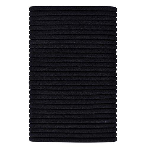 40 Stück Schwarz Haar Elastische Haargummi Haarband Pferdeschwanz Halter (4 mm Dicke)