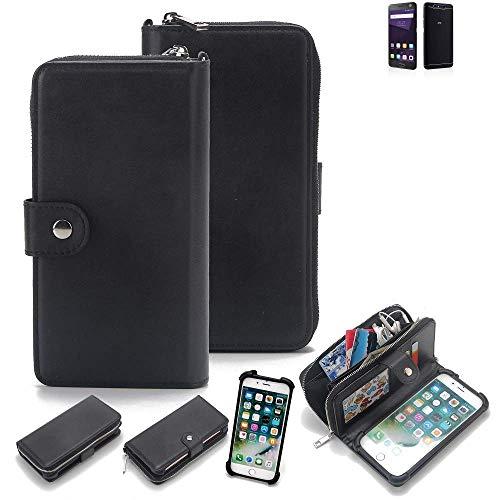 K-S-Trade 2in1 Handyhülle für ZTE Blade V8 64 GB Schutzhülle & Portemonnee Schutzhülle Tasche Handytasche Case Etui Geldbörse Wallet Bookstyle Hülle schwarz (1x)