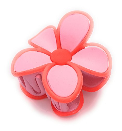 Pince Crabe A Cheveux Fleur en Plastique et Métal - 2 Tons - Soft Touch - 7 cm - Rose / Orange