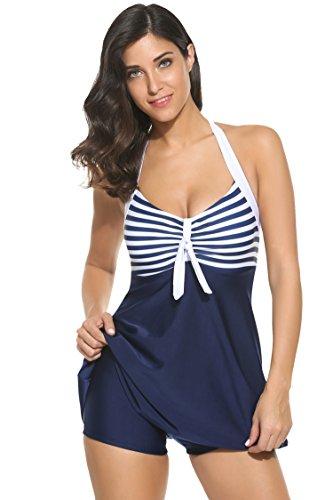 Ekouaer Tankini Damen Einteiler Monokini Neckholder Badeanzug Swimwear plus Size Strandbekleidung Blau