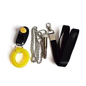 Hanyia 3 en 1 Sifflet Ultrasonique + Clicker Training + Laisse Formation et Education pour Animaux Chiens Set