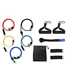 LOOM Resistance Bands Fitness Set Workout Fitness Training Rehab Bands Loop-Bands Schlauch Bands Tür-Anker-Ankle Straps Cushioned Griffe Tragetaschen Home Gym-Reisen