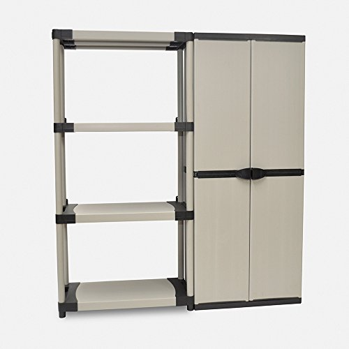 Kreher XL Schrank und Regal Set: 1 Schwerlastregal 4 Böden, ca. 80x40x168 cm, belastbar bis 80 kg pro Boden + Kunststoff Schrank ca. 69 x 40 x 168 cm, mit 3 Böden. Einfache Montage, Kunststoff Grau. - Modulare Büro-schränke