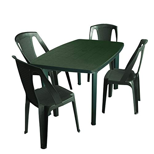 5tlg Gartenmöbel-Set Gartentisch, 101x68cm, Sonnenschirmöffnung + 4X Stapelstuhl Procida – Kunststoff, Grün