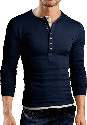 Grin&Bear Slim Fit Kontrast Shirt mit Doppel Knopfleiste, BH125 langarm/navy