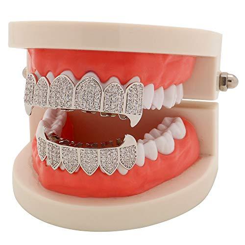 Gefälschte Zahnspangen Grillzähne Hip Hop Style Silber überzogenes CZ Iced-Out Grillz mit zusätzlichen Formleisten inklusive -
