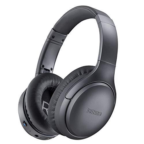 Active Noise Cancelling Kopfhörer, Boltune Kabellos Bluetooth 5.0 Over Ear Ohrhörer Wireless ANC Headset mit CVC 8.0 Geräuschunterdrückendes Mikrofon 30 Std Spielzeit für iOS Android TV, Dunkelgrau
