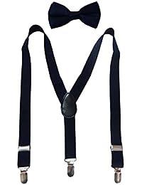 Navaksha Nevy Blue Y-Back Solid Adjustable Kid's Suspender with Matching Bow Tie