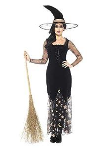 Smiffys Disfraz de Bruja Deluxe con Luna y Estrellas, Negro y Dorado, con Vestido y somb