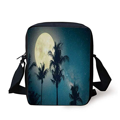LULABE Space,Exotic Palm Tree Tops with Full Moon Scenery Picture Milk Way Dust Dreamy Art Print,Yellow Blue Print Kids Crossbody Messenger Bag Purse (Milk Glass Moon)