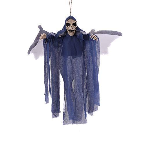 HLLPG Halloween Requisiten Hängende Skeleton Ghost Bat Sprachaktivierte Leuchten Augen Scary Sound-Effekt Spukhaus Requisiten Party Bar Club Outdoor-Dekorationen 3-Teiliges Set