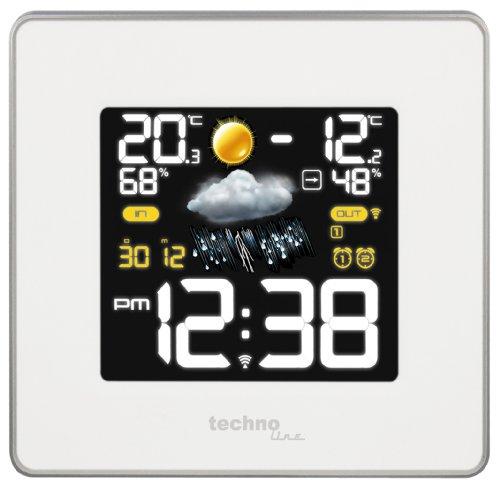Technoline WS 6440 moderne Wetterstation mit Funkuhr, Temperatur-,Luftfeuchte-, und Luftdruckanzeige inklusive Außensender TX96-TH-TW003, Übertragungsfrequenz 433 MHz, weiß, 14,8 x 5,4 x 13,7 cm