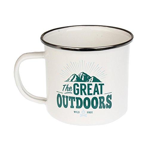 H & H Top Guy Mug The Great Outdoors Großer Camping-Kaffeetasse, Emaille, ca. 400 ml, Mehrfarbig, leicht, Retro-inspiriert, für Damen und Herren Family Guy Bier