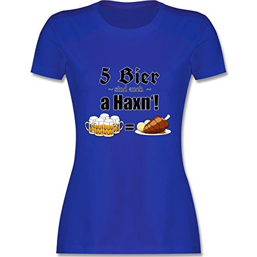 Oktoberfest Damen - 5 Bier sind auch a Haxn'! - tailliertes Premium T-Shirt mit Rundhalsausschnitt für Damen Royalblau