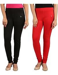 FlyColors Women's Cotton Churidar Leggings (Pack Of 2) - B072LVH9HW