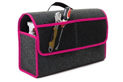 Preisvergleich Produktbild Kofferraumtasche 50x16x21 mit Klettverschluss Organizer Werkzeugtasche Autotasche Toolbag Rand aus Verstärkten Polymer Stoff in 6 Verschiedenen Farben (Pink) aus Hochwertigen Teppichboden Stoff