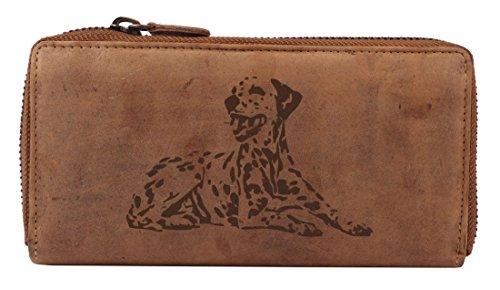 Greenburry Vintage Geldbeutel Leder-Portemonnaie mit Hunde-Motiv Dalmatiner l Damen-Geldbörse mit Reißverschluss l Leder-Portemonnaie mit Hunde-Motiv l 19x10x2,5 cm