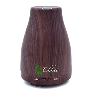 Eddax Aromatherapy Mist Diffuser - Essential Oils Aroma Humidifier, Auto Shut Off Function, 7 Colors LED Light, For Home, Yoga, Bedroom, Gym – Wood Color, for friends (Dark brown)