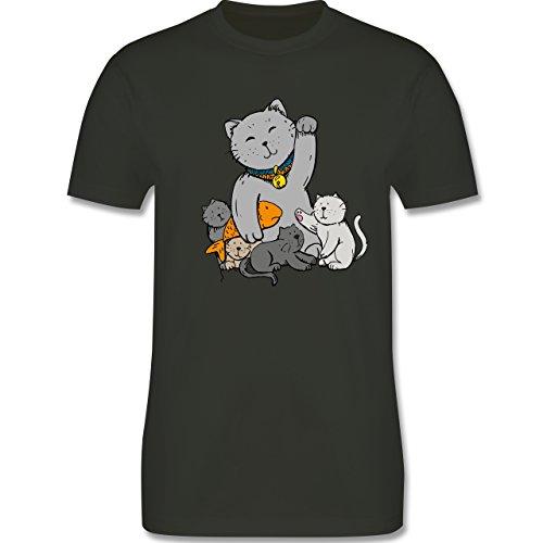 Weihnachten & Silvester - Winkekatze - Herren Premium T-Shirt Army Grün