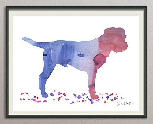 border terrier Rasse Hunde Hunderasse Fine Art Print Aquarell Silhouette Profil Poster Kunstdruck Plakat modern ungerahmt DIN A 4 Deko Wand Bild -