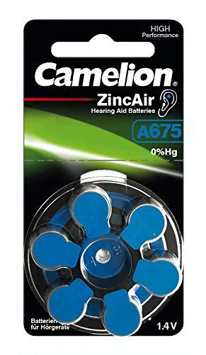 Camelion 15056675 Zink Luft Knopfzellen ohne Quecksilber A675/ZL 675/1,4 Volt, 6er-Pack - 675 Zink-luft