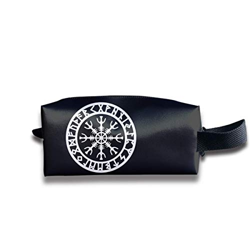Odin Thor Viking Norse Helm of Awe Rune Protection Travel&Home&Office  Portable Make-up Receive Bag Hand Cosmetic Bag with Hanging