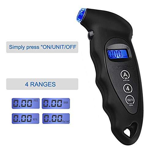 liaoting938 Digitaler Reifendruckprüfer mit Hintergrundbeleuchtung LCD-Display Überwachung Auto 150 PS / 10 bar Tester Werkzeug für Autos und Motorräder Schwarz