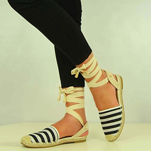 Cucu Fashion ,  Damen Knöchel-Riemchen Black Striped