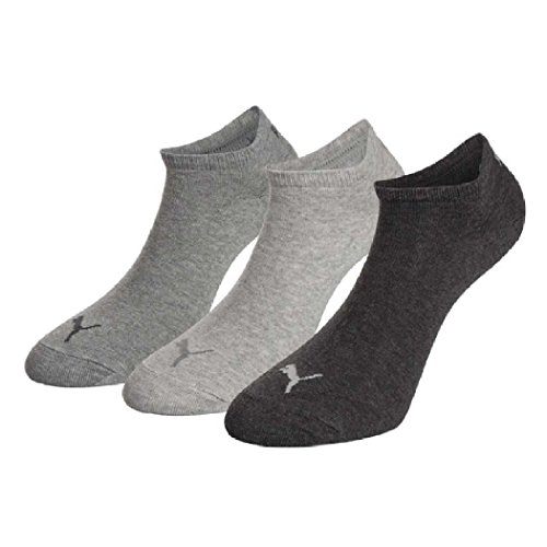 6 pair Puma Sneaker Invisible Socks Unisex Mens & Ladies In 3 Colours 800 - anthraci/l mel grey/m me