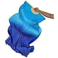 Danza Del Vientre Real Fan De Seda Costillas De Bambú Profesional Performance Training Elástico Hecho A Mano Azul Vibrante 1.8 M Largo L + R,L+R(1.8M)
